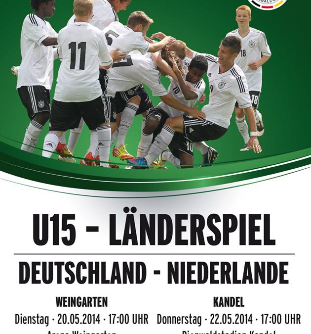U15-Länderspiel Deutschland – Niederlande am 20.05. in Weingarten