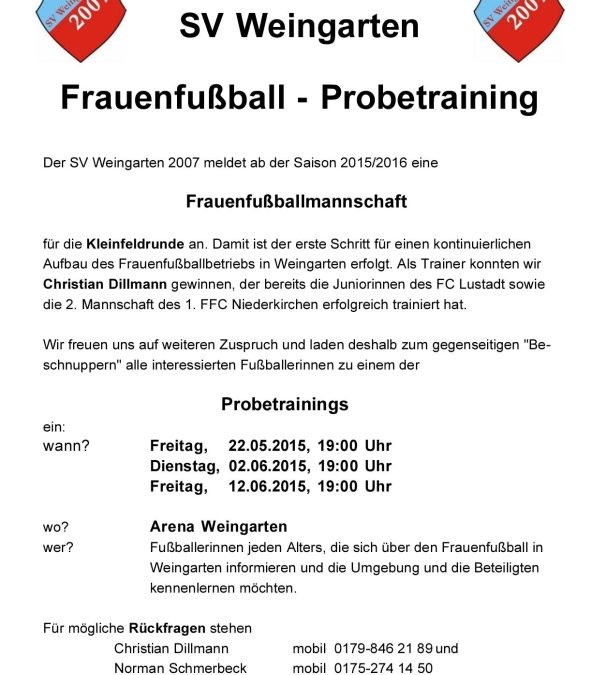 Frauenfußball – Mannschaft und Schnuppertraining